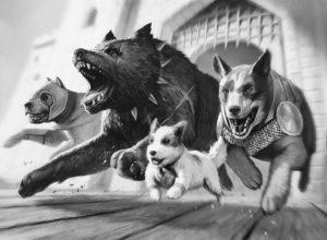 « Lâchers de chiens » de Jean-Baptiste Farkas est une action qui consiste à lâcher des chiens dans Paris pour semer la panique dans les vernissages, app. 2006.