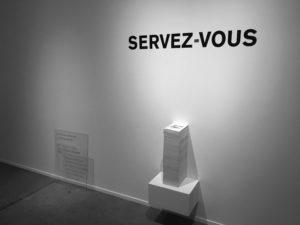 Petit guide à l'usage d'une Fatigue culturelle (2018), dans le cadre de l'exposition Tout contexte est art. Commissaire : Jean-Michel Quirion. Crédit : Jean-Michel Quirion
